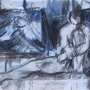 Homme dans l'atelier bleu