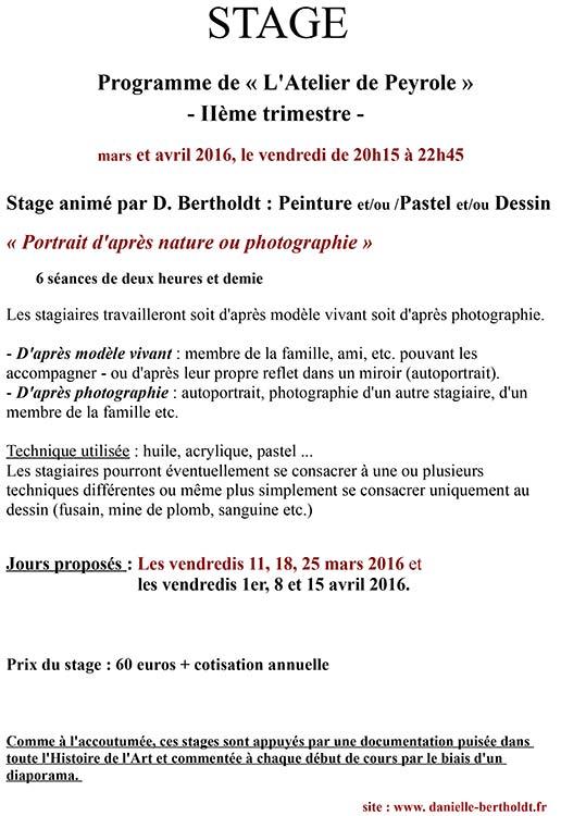 Atelier de Peyrole, programme 2016